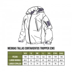 Tabla tallas cortavientos Trooper