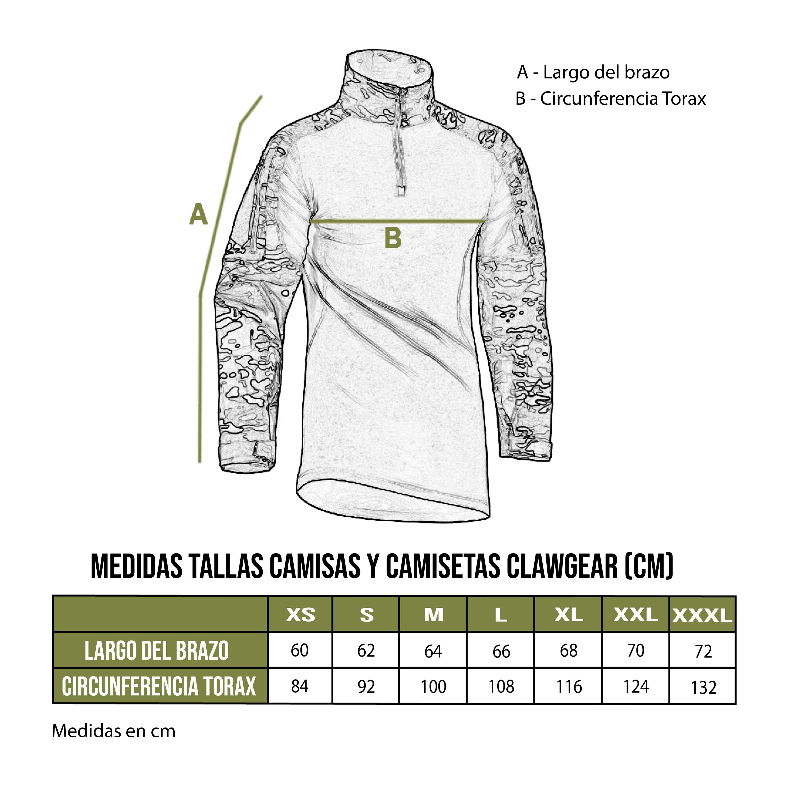 Tabla talla camisetas Clawgear