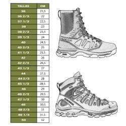 Tabla tallas botas Salomon