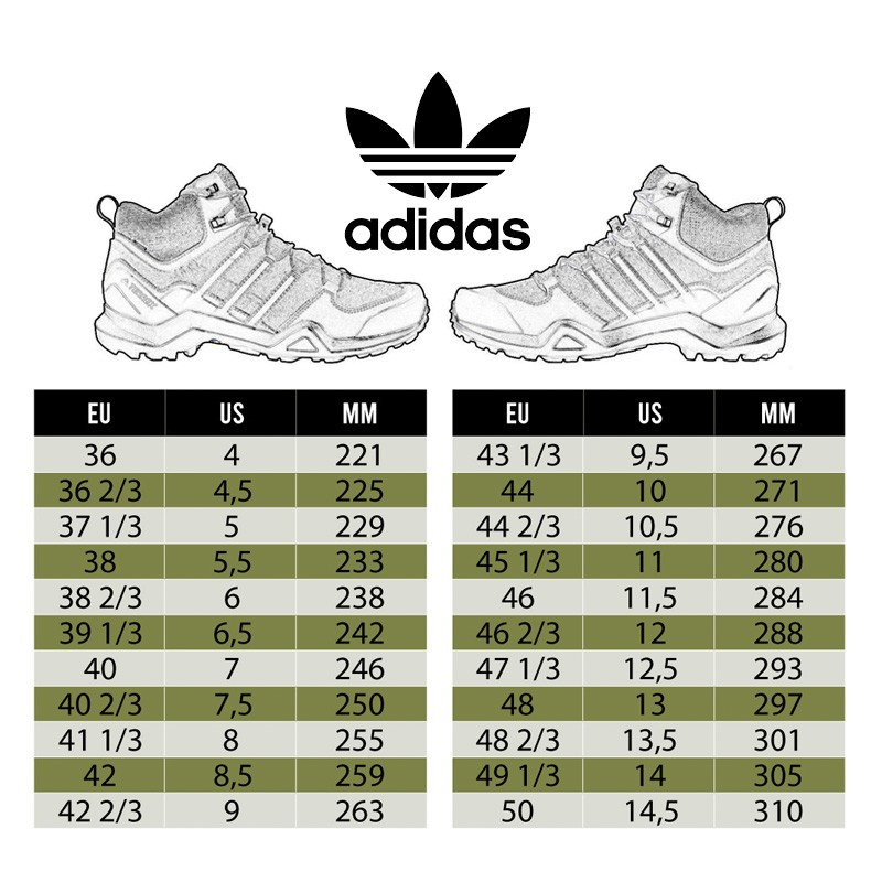 Tabla tallas botas Adidas